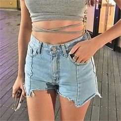 LIPHOP - Asymmetric-Hem Denim Shorts