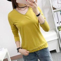 Cottony - Long-Sleeve V-neck T-Shirt