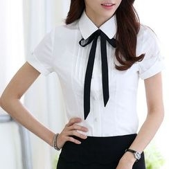 Caroe - Short-Sleeve Tie-Neck Dress Shirt