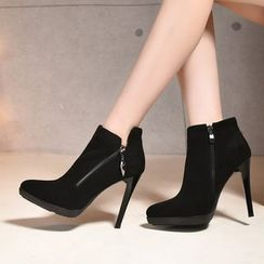 Pastel Pairs - Side Zip High Heel Ankle Boots