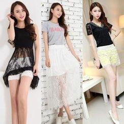 Leana - Maxi Lace Skirt / Sleeveless Lace Dress / Lace Shorts