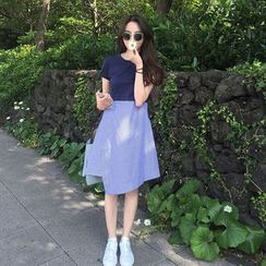 MePanda - Short-Sleeve Mock Two Piece Dress
