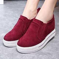 Ammie - Genuine Leather Hidden Wedge Slip Ons