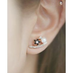 Miss21 Korea - Rhinestone Faux-Pearl Flower Earrings