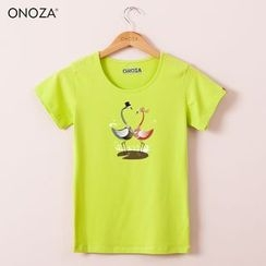 Onoza - Short-Sleeve Flamingo-Print T-Shirt