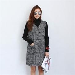 PIPPIN - Sleeveless Buttoned Glen-Plaid Shift Dress