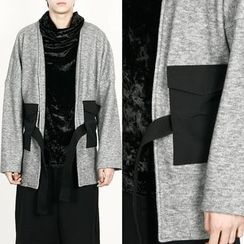 Rememberclick - Contrasted Rope-Detailed Cardigan