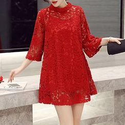 Romantica - 3/4-Sleeve Lace A-Line Dress