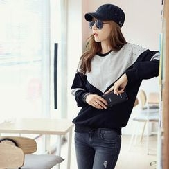 REDOPIN - Studded-Shoulder Two-Tone Pullover