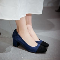 JY Shoes - Panel Block Heel Pumps