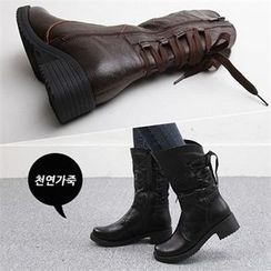 Reneve - Lace-Up Genuine-Leather Mid-Calf Boots