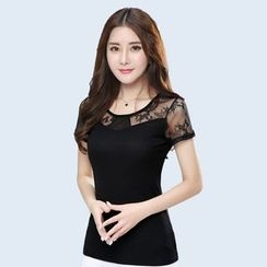 Orchid Heart - Lace Panel Short-Sleeve T-Shirt