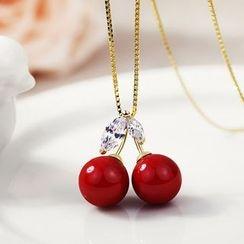 STYLEJING - Rhinestone Cherry Pendant