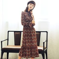 Dimosqisi - Long Sleeve Print Chiffon Dress