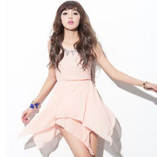 CUTIE FASHION - Rhinestone-Collar Handkerchief-Hem Dress