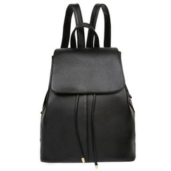LineShow - Faux Leather Flap Backpack