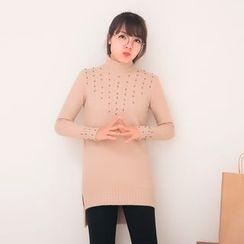 FFBABY - Beaded Mock Neck Long Sweater