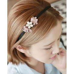 Miss21 Korea - Faux-Pearl Flower Slim Hair Band