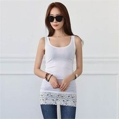 CHICFOX - Lace-Hem Long Tank Top