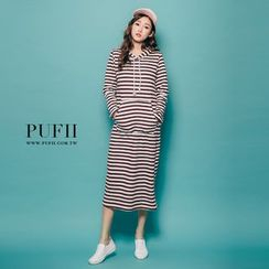 PUFII - Striped Hooded Dress