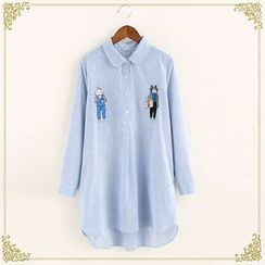 Fairyland - Embroidered Striped Long Shirt