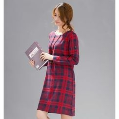 Diosa - Plaid Long Sleeve Dress