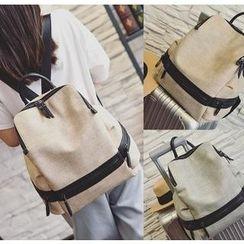 Youshine - Faux Leather Panel Backpack