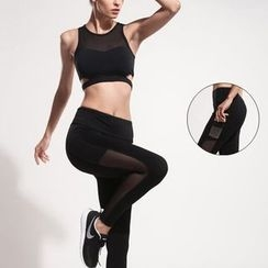 Wheatfield - Sport Set: Long Sleeve Mesh Cutout Bra Top + Mesh Yoga Pants