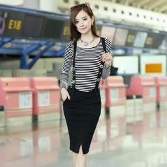 AiSun - Set: Long-Sleeve Striped Top + Jumper Skirt