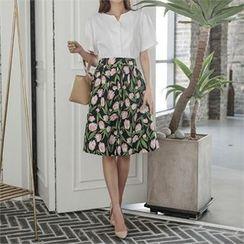 ERANZI - Floral Linen Midi Flare Skirt