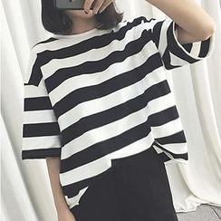Shimi - Stripe Elbow-Sleeve T-shirt