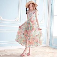Tokyo Fashion - Lace Bib Floral Long Dress