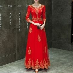 Shannair - 3/4-Sleeve Embroidered Evening Gown