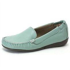 MODELSIS - Genuine Leather Stitch Detail Loafers