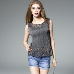 Y:Q - Lace Panel Pleated Sleeveless Top