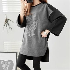 PIPPIN - Contrast-Panel Owl Printed Pullover Dress