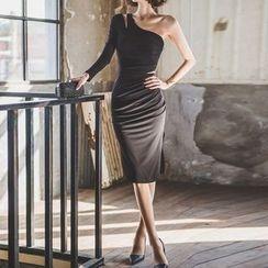 Fashion Street - One-shoulder Long-Sleeve Dress