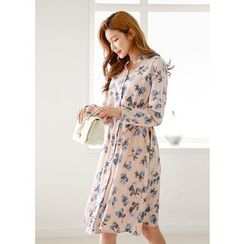 J-ANN - Gathered-Waist Floral Shirtdress