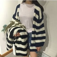 MATO - Striped Chunky Knit Cardigan