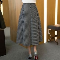 MayFair - Striped A-Line Midi Skirt