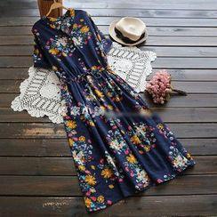 YOYO - Short-Sleeve Printed Shirtdress
