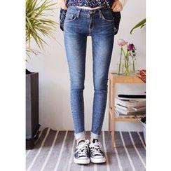 DEEPNY - Fray-Hem Washed Skinny Jeans