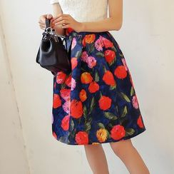 Loverac - Floral Print A-Line Skirt