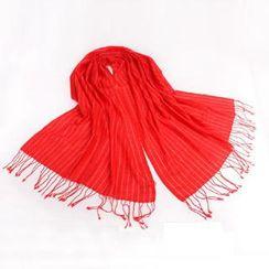 羚羊早安 - 条纹流苏羊毛围巾
