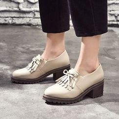 VIAN - Fringed Bow-Accent Platform Chunky-Heel Shoes