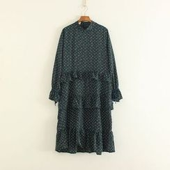 Mushi - Dotted Long Sleeve Frill Trim Dress