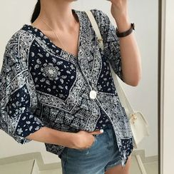 UPTOWNHOLIC - V-Neck Pattern Blouse