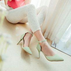 Charming Kicks - Ankle Strap Pointy Pumps