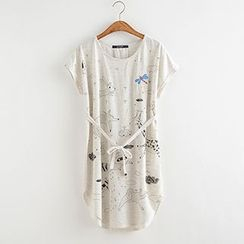 Angel Love - Animal Print Short-Sleeve Dress with Sash