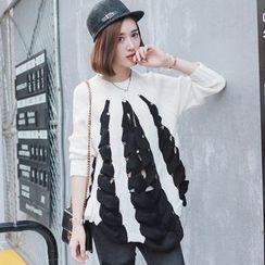 Dreamy Kiss - Open Knit Contrast Trim Sweater